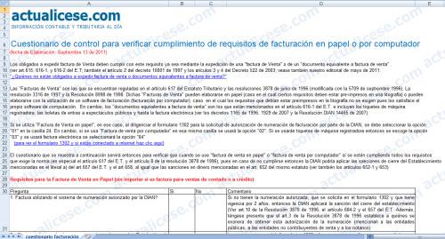[Guia] Cuestionario de control para verificar cumplimiento de requisitos de facturación en papel o por computador