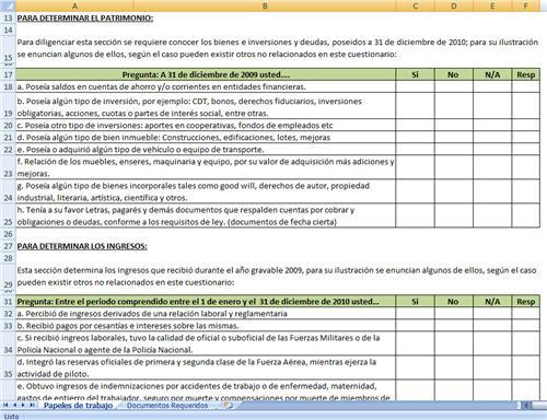 [Excel] Cuestionario para elaboración de la Declaración de Renta de Personas Naturales Año Gravable 2010 – Jhony Jose Duran