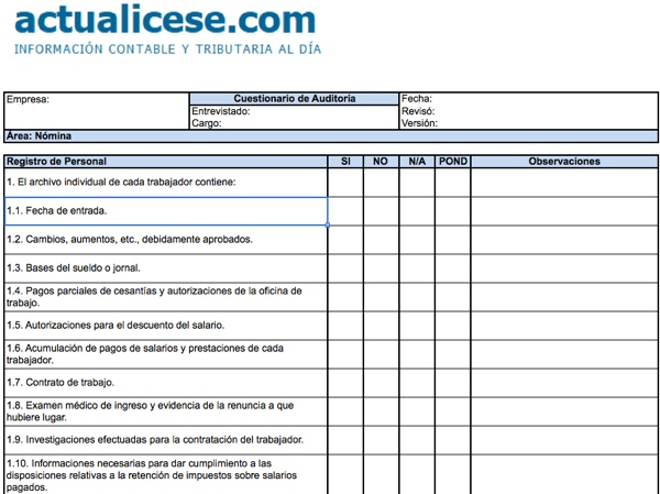 Auditor a modelos y formatos for Manual de compras de un restaurante pdf