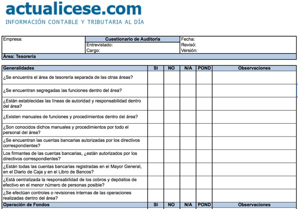 [Formato] Cuestionario de Auditoría para Área de Tesorería