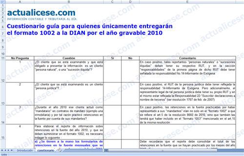 [Excel] Cuestionario guía para quienes únicamente entregarán el Formato 1002 a la DIAN por el año gravable 2010