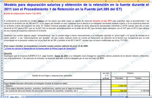 Modelo para definir porcentaje fijo de retención en la fuente sobre salarios en Diciembre de 2010 (procedimiento 1)