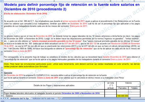 [Excel] Modelo para definir porcentaje fijo de retención en la fuente sobre salarios en Diciembre de 2010 – procedimiento 2