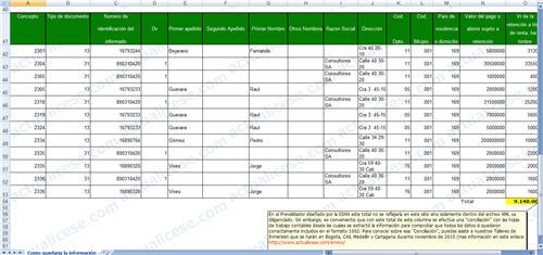 [Excel] Estructura simple del Formato 1002