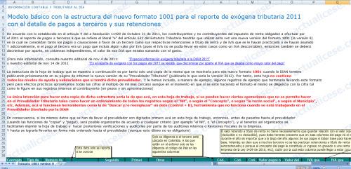 Modelo básico con la estructura del nuevo formato 1001 para el reporte de exógena tributaria 2011 con el detalle de pagos a terceros y sus retenciones