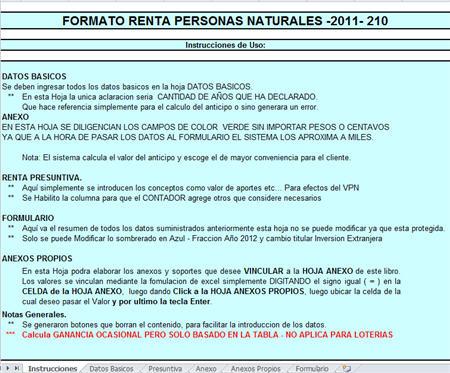 [Liquidador] Formulario 210 de renta personas naturales para no obligadas a llevar contabilidad, año gravable 2011 – Jorge Edwin Guevara C.