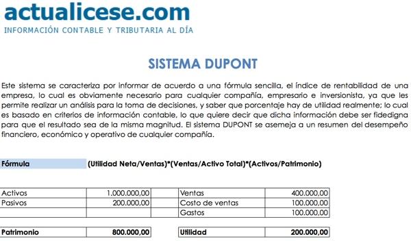 [Formato] DUPONT: Índice de rentabilidad