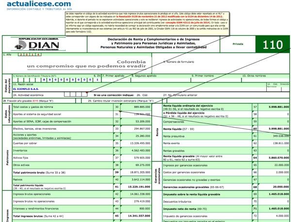 [ORO] Formularios 110 y 140 con anexos y formato 1732 para personas jurídicas año gravable 2014