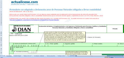 [Liquidador] Formulario 110 adaptado a declaración 2010 de Personas Naturales obligadas a llevar contabilidad