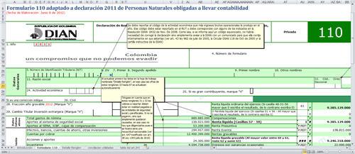 [Liquidador] Formulario 110 adaptado a declaración 2011 de Personas Naturales obligadas a llevar contabilidad