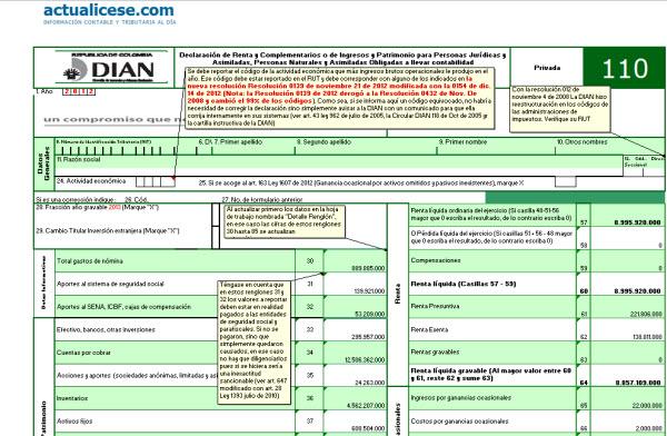 [Liquidador] Formulario 110 adaptado a declaración 2012 de personas naturales obligadas a llevar contabilidad usando tabla art. 241 E.T