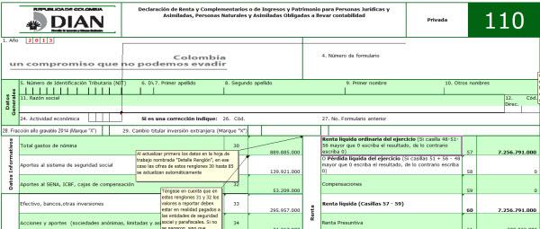 [Liquidador] Formulario 110 adaptado para Declaración de Renta 2013 Personas Naturales. Versión básica
