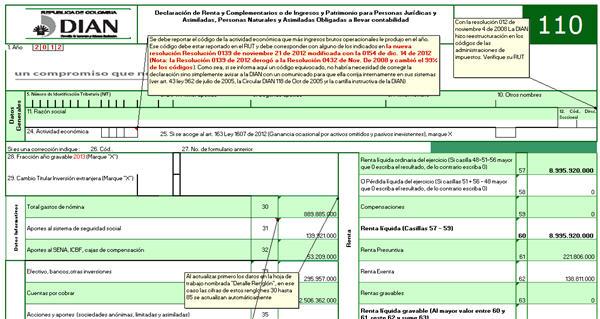 Formulario 110 adaptado a declaración 2012 de Personas Naturales obligadas a llevar contabilidad