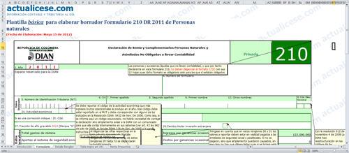 Plantilla básica para elaborar borrador Formulario 210 para DR 2011 de Personas Naturales