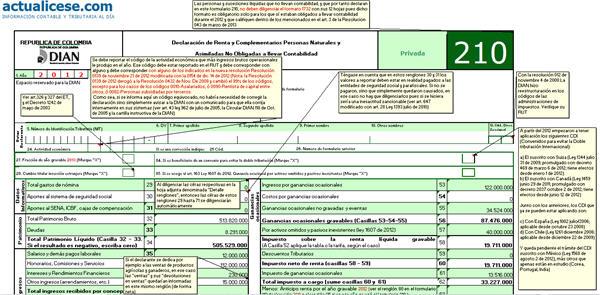 Formulario 210 para Declaración de Renta 2012 de Personas Naturales - Versión Básica