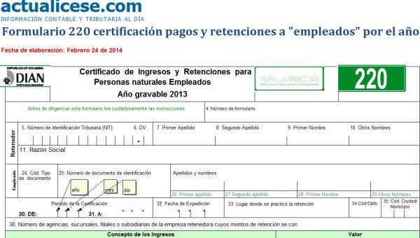 """[Certificación] Formulario 220 certificación pagos y retenciones a """"empleados"""" por el año gravable 2013"""