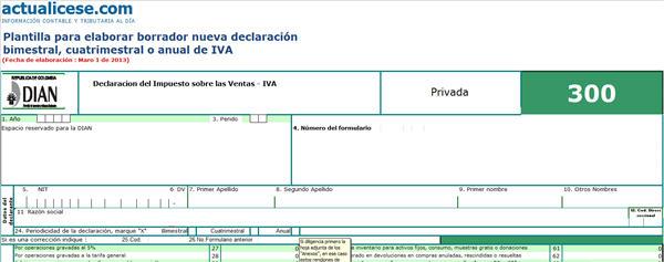 Plantilla para elaborar borrador nueva declaración bimestral, cuatrimestral o anual de IVA