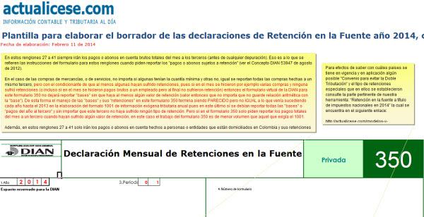 Plantilla para elaborar borrador formulario 350 retención en la fuente durante 2014