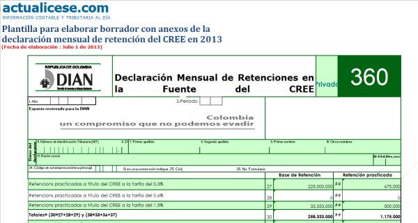 [Guía] Declaración mensual de retención del CREE en 2013. Plantilla con anexos