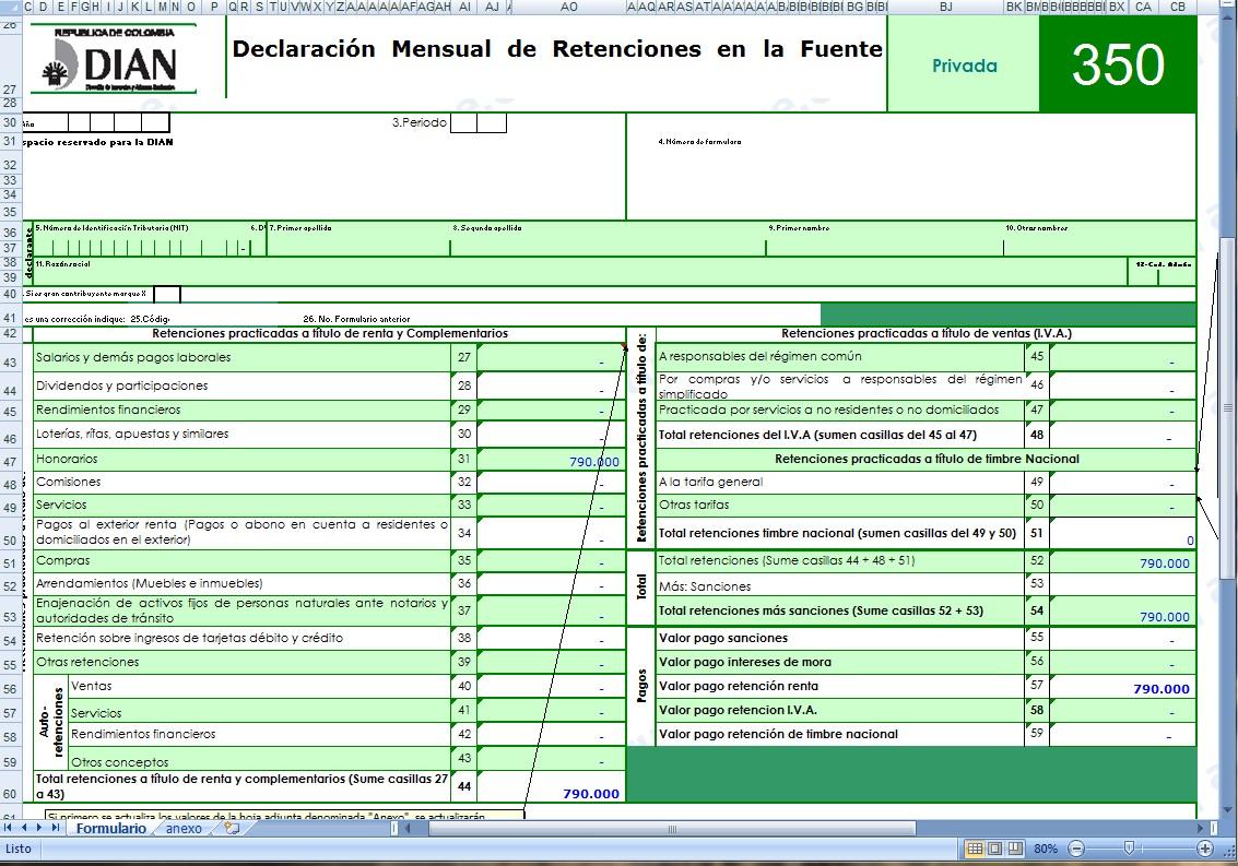 [Excel] Plantilla para elaborar borrador con anexos de la Declaración Mensual de Retenciones durante el 2010