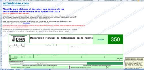 [Formulario] Plantilla para elaborar borrador con anexos de la Declaración Mensual de Retenciones durante el 2011