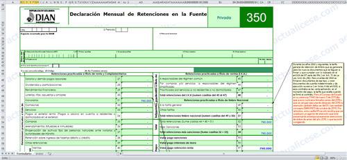 Plantilla para elaborar borrador formulario de retención en la fuente 350 a la DIAN durante el 2012