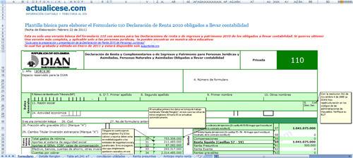 Plantilla básica para elaborar el Formulario 110 Declaración de Renta 2010 obligados a llevar contabilidad