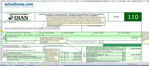 [Liquidador] Formulario 110 con anexos para Declaración de Renta año gravable 2011 Personas Naturales obligadas a llevar contabilidad y formato 1732