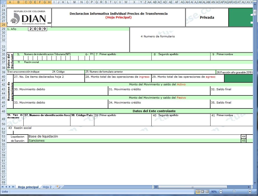 Individual De Precios De Transferencia A241o Gravable 2009. Formulario