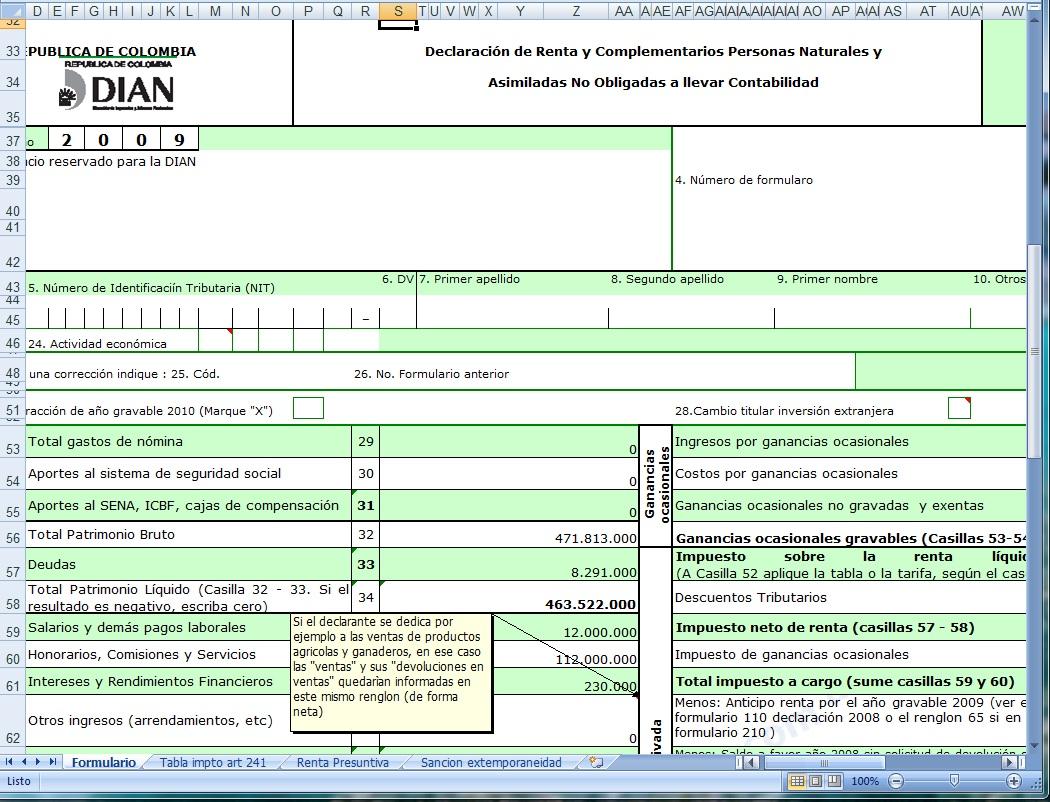 [Excel] Plantilla básica para elaborar borrador del Formulario 210 para Declaración de Renta 2009 de Personas Naturales