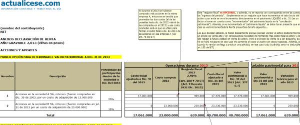 [Liquidador avanzado] Diligenciamiento de formularios 210 y 230 con anexos para la declaración de renta 2013 de una persona natural no obligada a llevar contabilidad
