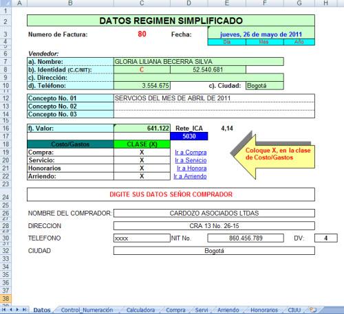 [Liquidador] Documento equivalente a la factura de venta – Gerardo Cardozo Rojas