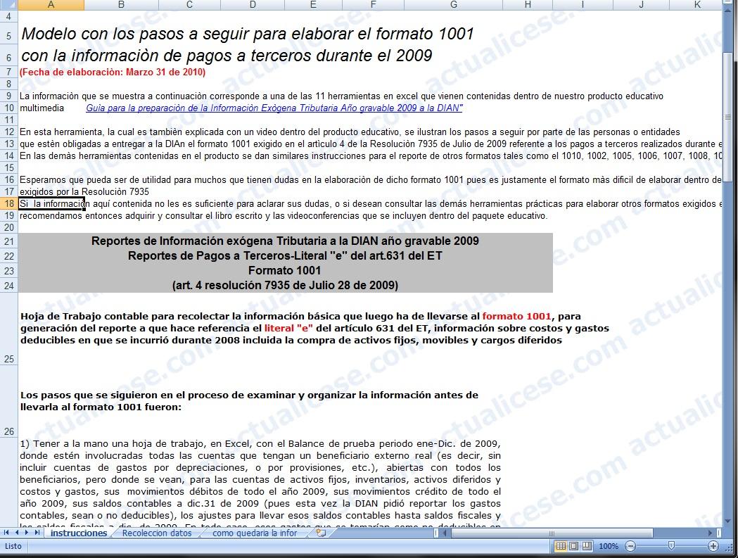Modelo con los pasos a seguir para elaborar el Formato 1001 con la información de pagos a terceros durante el 2009