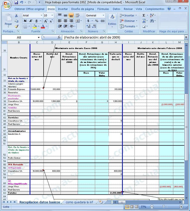 Hoja de Trabajo para recolectar la Información de las Retenciones del año 2008 y que se llevaría al Formato 1002