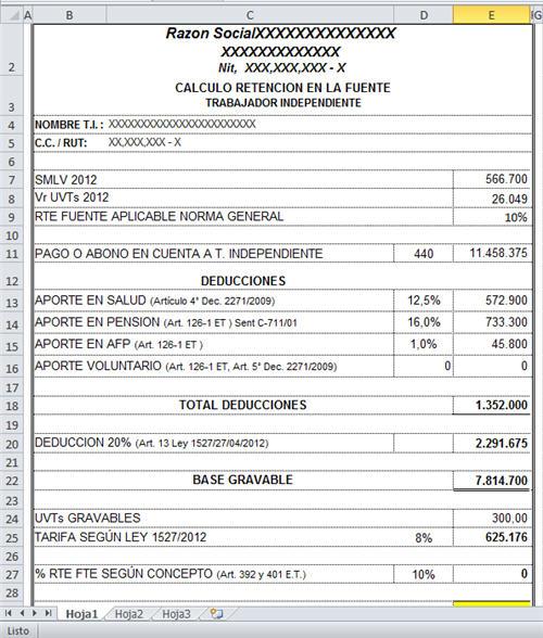 Formato Liquidacion Retencion En La Fuente Independientes 2012