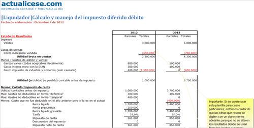 Cálculo y manejo del impuesto diferido débito