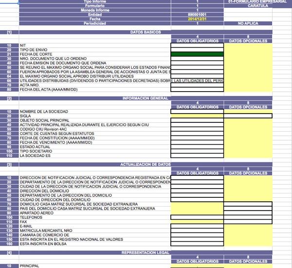 [Guía] Plantilla para elaborar Formulario Empresarial por el año 2014 a Supersociedades