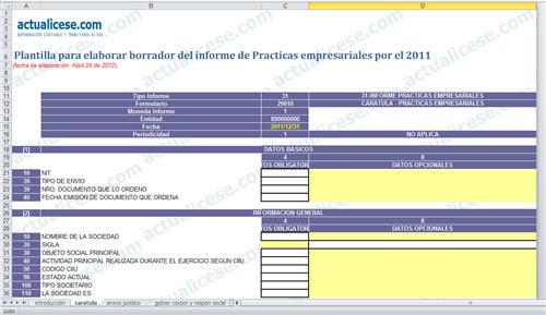 Plantilla para elaborar borrador del informe de Practicas empresariales por el 2011