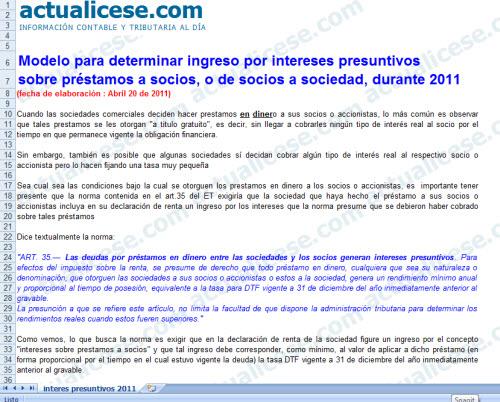 [Liquidador] Modelo para determinar ingreso por intereses presuntivos sobre préstamos a socios o de socios a sociedad durante 2011
