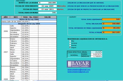 [Liquidador] Liquidador de intereses de mora de obligaciones tributarias – Jose Miguel Barbosa M.