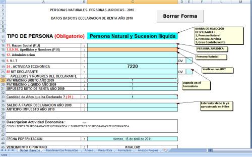 [Formulario] Liquidador Renta Formulario 110 año 2010 Obligados a Llevar Contabilidad – Jorge Edwin Guevara C.