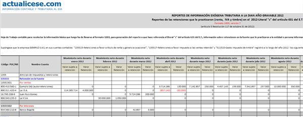 Reportes de las retenciones que le practicaron (renta, IVA y timbre) en el 2012 - Literal