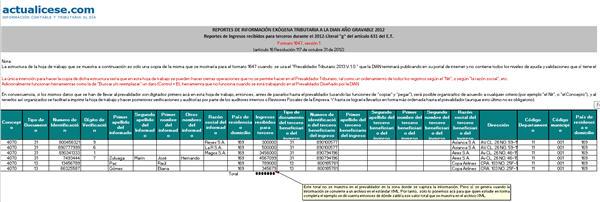 Reportes de Ingresos recibidos para terceros durante el 2012 - Literal