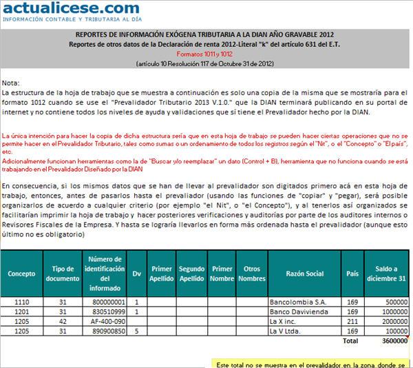 """[Liquidador] Reportes de otros datos de la Declaración de renta 2012 – Literal """"k"""" del artículo 631 del E.T."""