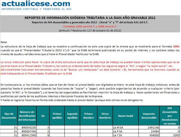"""[Liquidador] Reportes de IVA descontables y generados año 2012 – Literal """"e"""" y """"f"""" del artículo 631 del E.T."""
