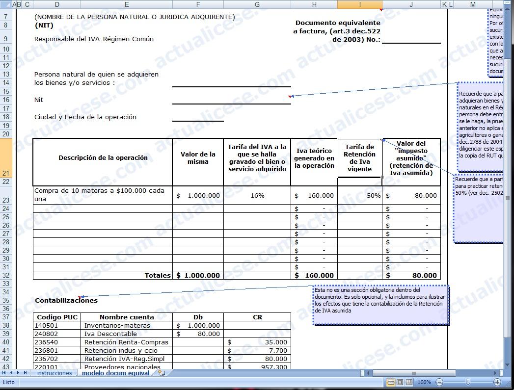 Modelo del Documento equivalente a factura por compras al Régimen ...