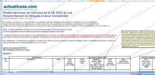 [Liquidador] Anexo de vehículos para la DR 2010 de una Persona Natural no Obligada a Llevar Contabilidad