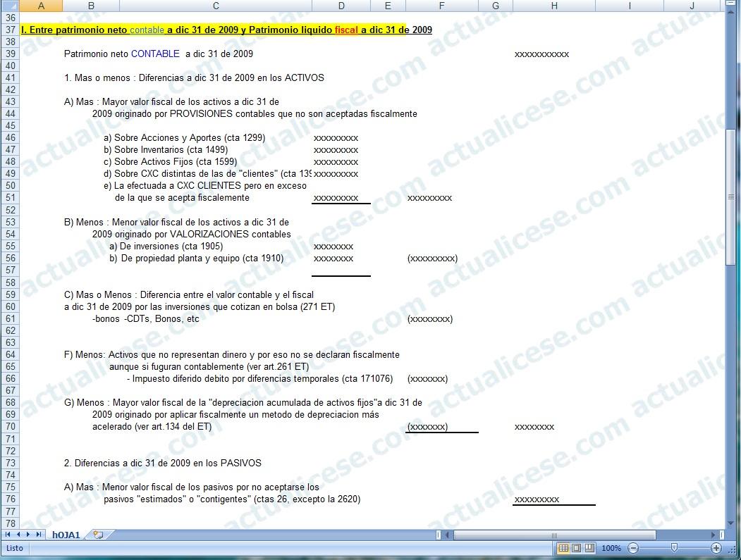 [Excel] Modelo conciliación entre patrimonios fiscales y contables de una Persona Jurídica al cierre de 2009