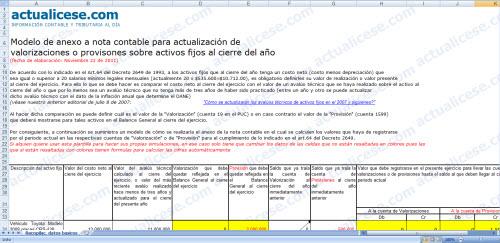 [Liquidador] Anexo a nota contable para actualización de valorizaciones o provisiones sobre activos fijos al cierre del año
