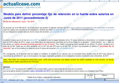 [Liquidador] Modelo para definir porcentaje fijo de retención por salarios en Junio de 2011 (procedimiento 2)